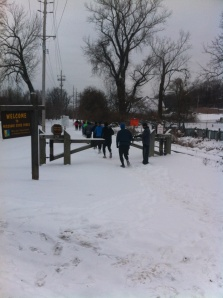 Runners head out for some snow covered miles.