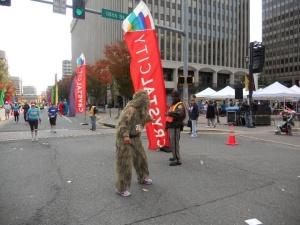 Marathoner in a ghillie suit